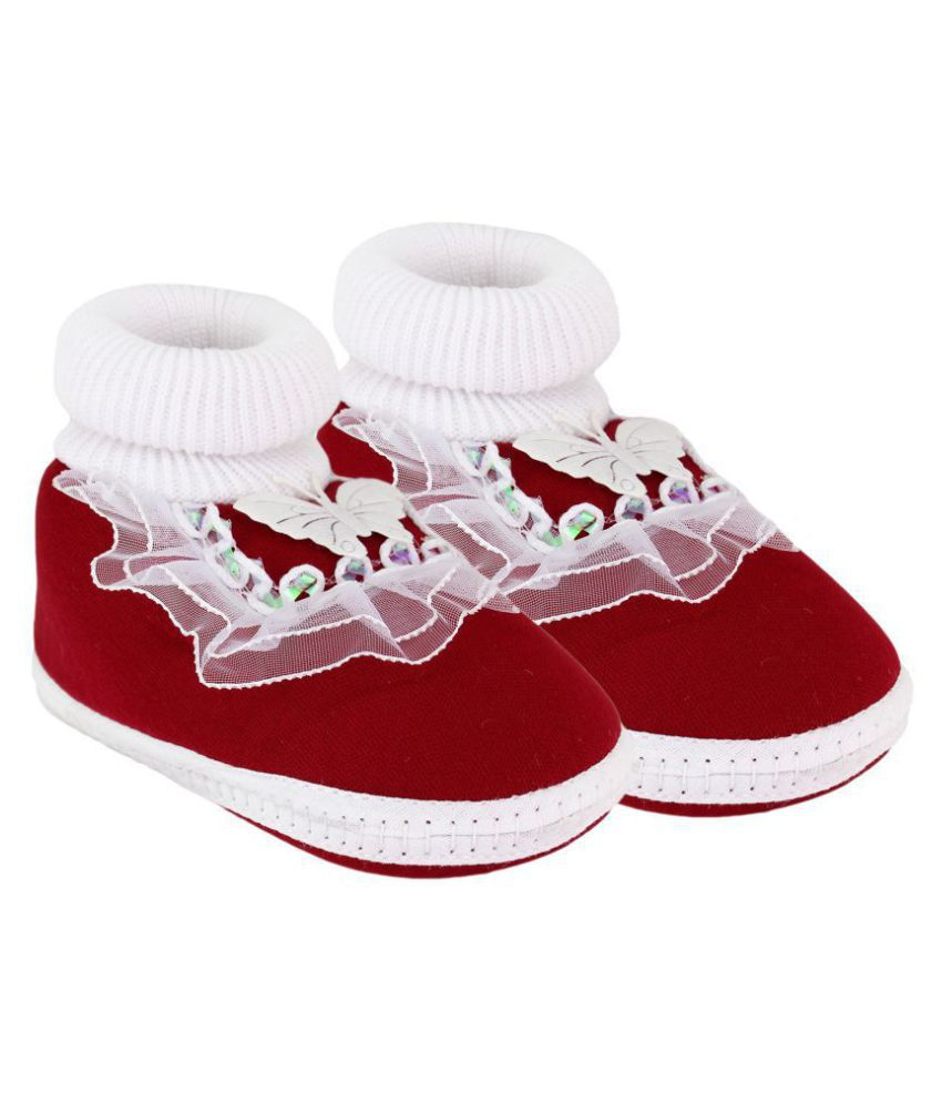 Neska Moda Baby Unisex Frill Butterfly Maroon Booties/Shoes For 0 To 12 Months Infants-BT17