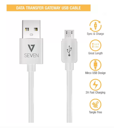 V7 Micro USB Cable 2.0 Amp Fast Charging   High Speed Data Cable  1 M  Micro USB Cable  All Phones With Micro USB Port, White, Sync and Charge Cable