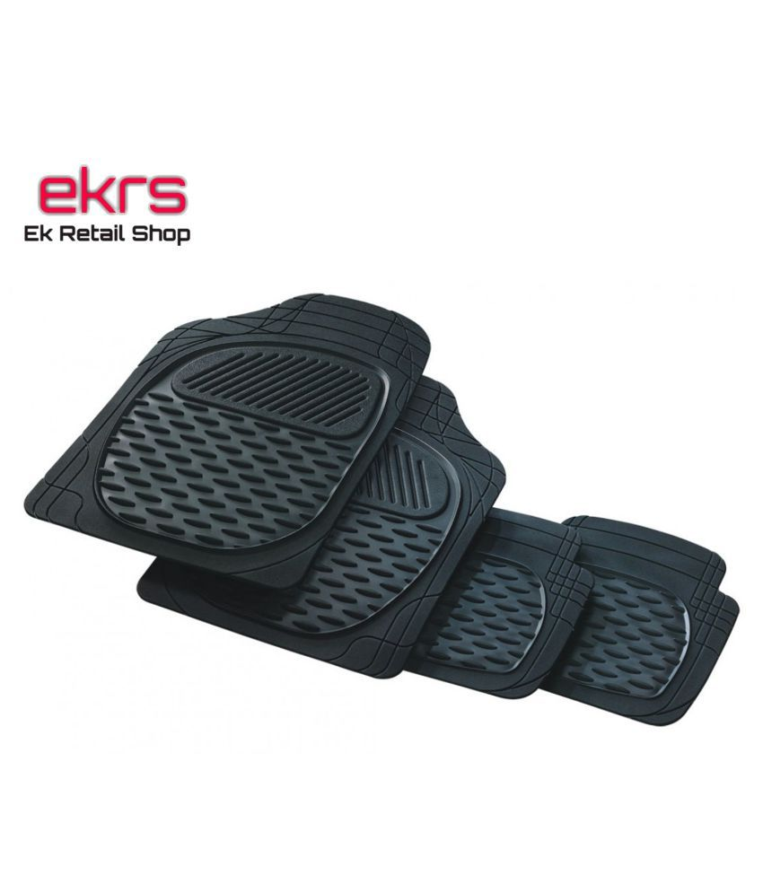 Ek Retail Shop Car Floor Mats (Black) Set of 4 for HyundaiSantroXingGLPLUSCNG