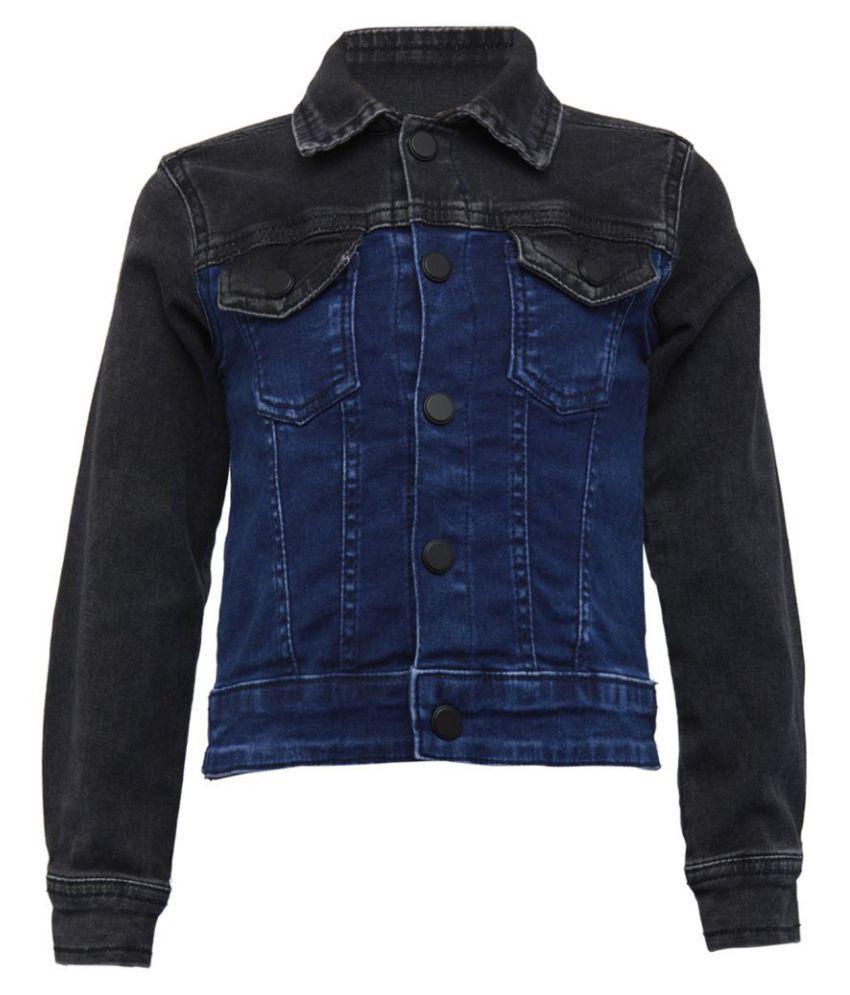 Tales & Stories Boys Blue & Black Regualr Fit Solid Jacket [T180073-13-14-BB]