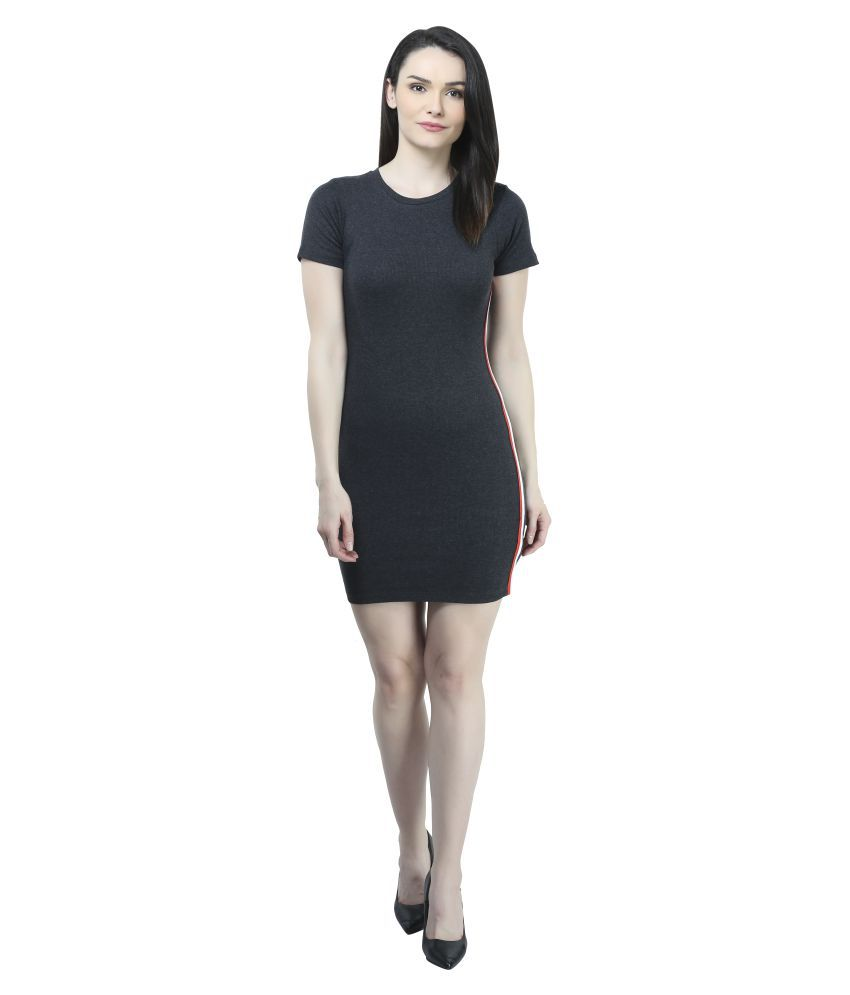 Mansi Collections Cotton Grey Bodycon Dress
