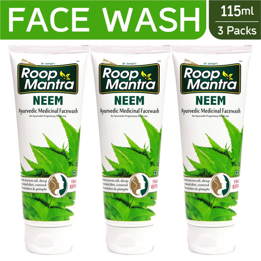 Roop Mantra Neem Face Wash 115ml, Pack of 3 (Helpful to control Acne  Pimples, Blemishes, Skin Infections and Remove Excess Oil, Facial Skin  Dirt) -