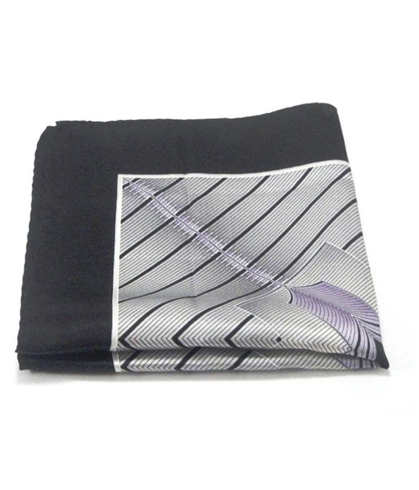 Voici France Grey Black Pocket Square, Microfiber, small size