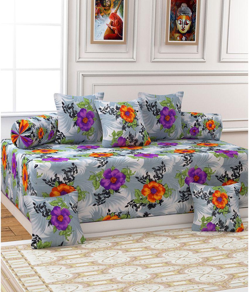 Homefab India Poly Cotton Gray 3D Print Diwan Set 8 Pcs