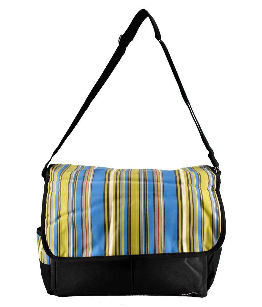 Bundle Mother Bag with Diaper Changing Mat   Black/Multistrip