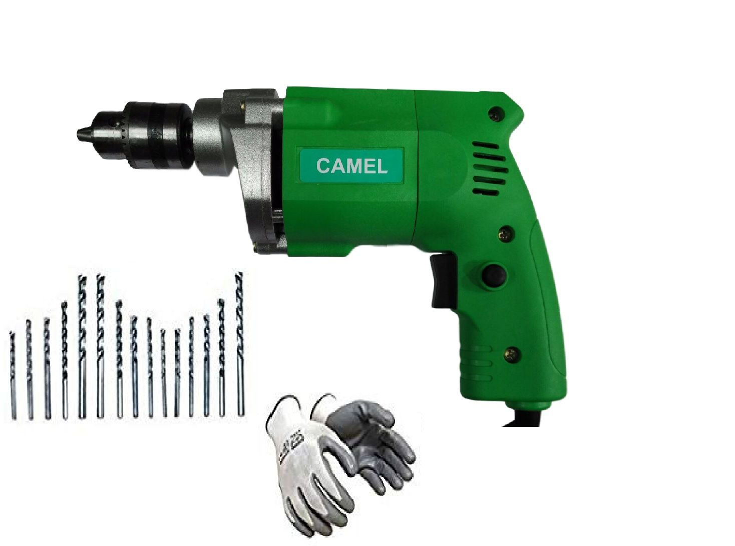 Camel 350W 10mm Corded Drill Machine with 15 Pcs High Quality Drill Bits + Safety Gloves