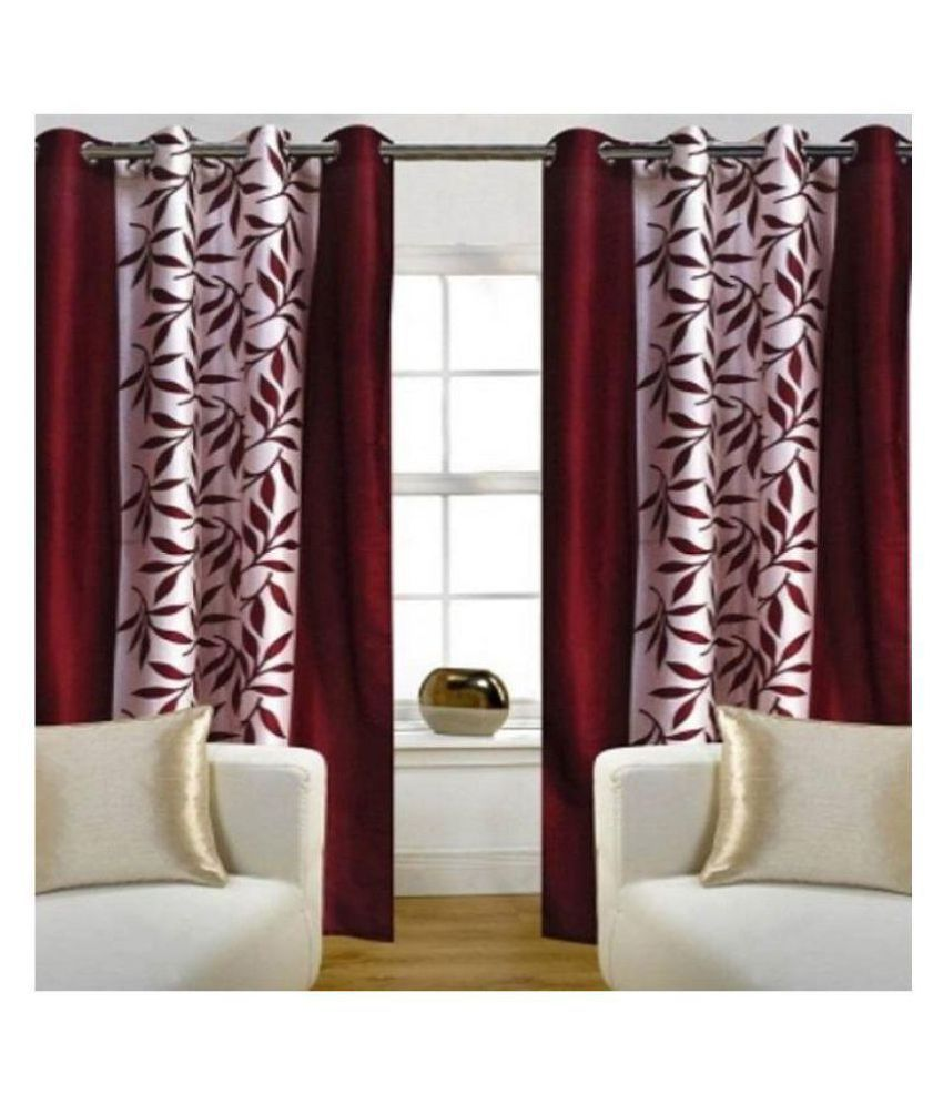 Home Garage Set of 2 Door Semi Transparent Eyelet Polyester Curtains Maroon