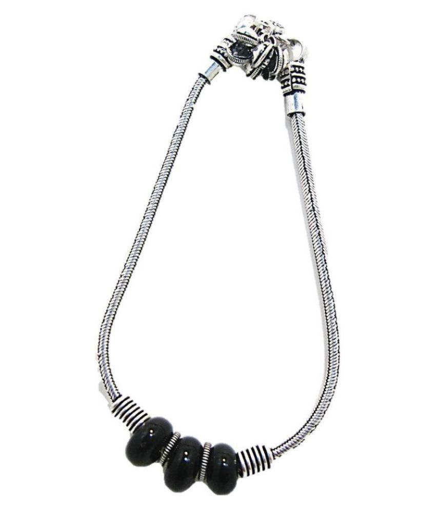 muccasacra German Silver Black Stone Single Anklet