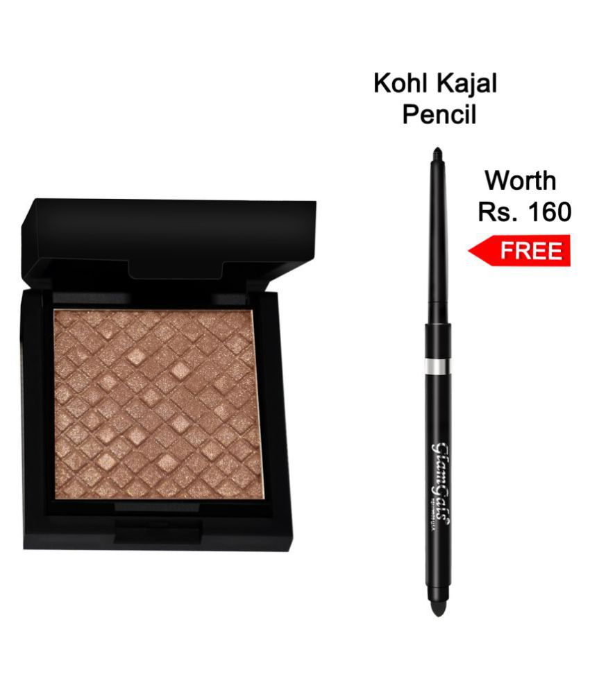 GlamGals Illuminator with Kohl Kajal Pencil Pressed Powder Dark Beige 7.5 gm Pack of 2