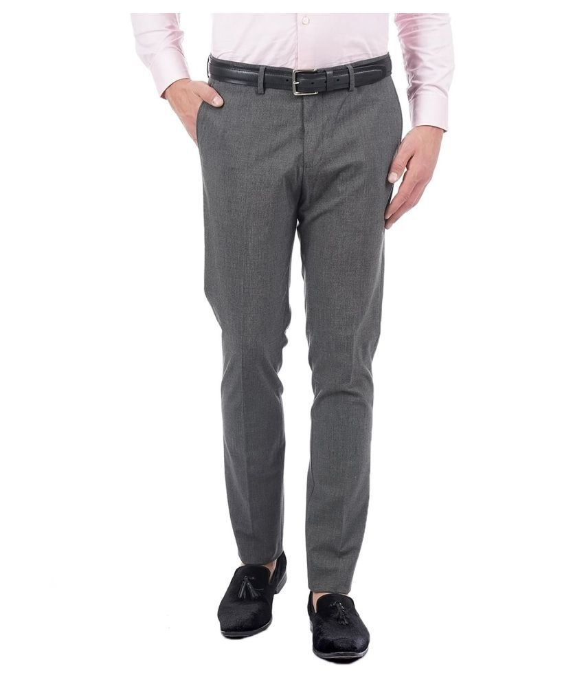 U.S. Polo Assn. Grey Regular -Fit Flat Trousers