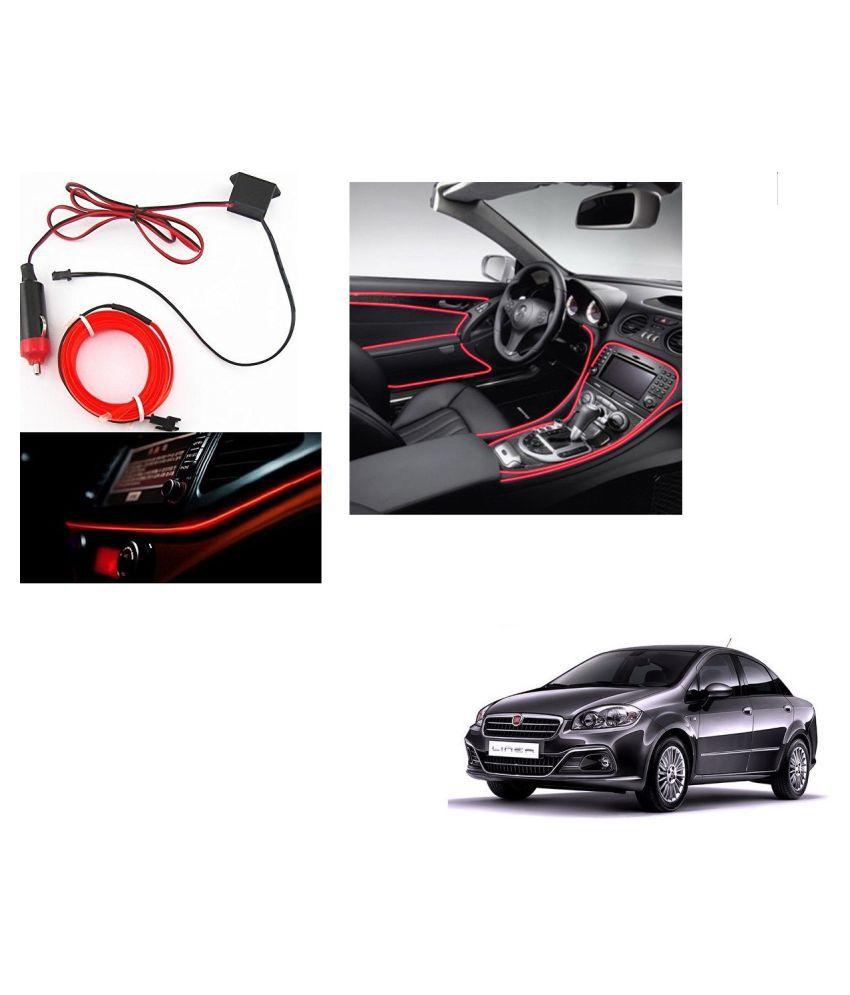 Auto Addict Red Color 12V 5Mtrs Roll Cold Light Car Socket Strip Neon Lamp Creator Decor Dashboard Interior Lighting For Fiat Linea