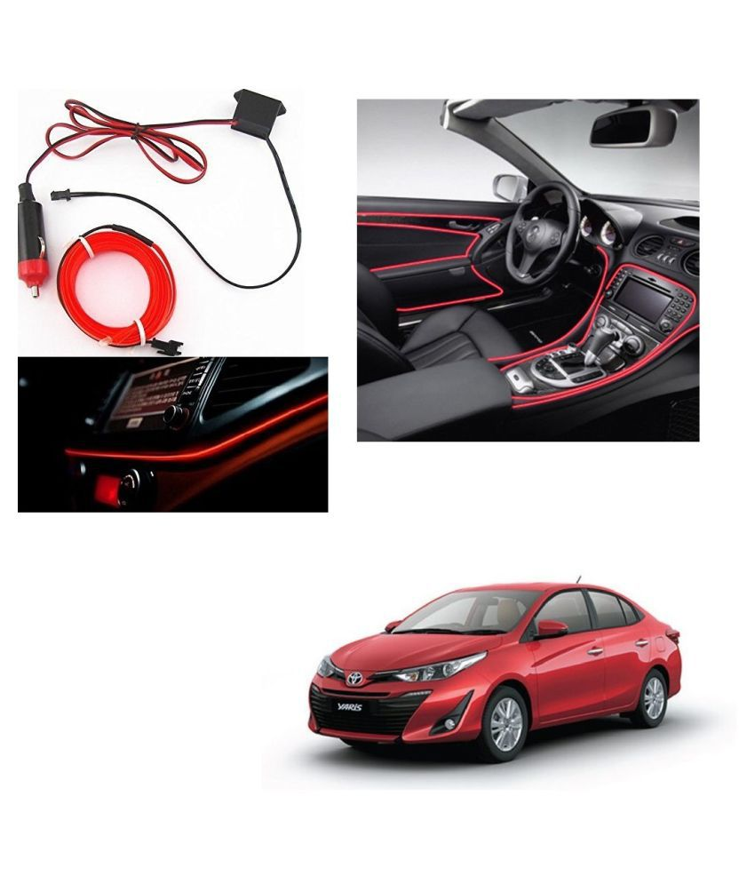Auto Addict Red Color 12V 5Mtrs Roll Cold Light Car Socket Strip Neon Lamp Creator Decor Dashboard Interior Lighting For Toyota Yaris