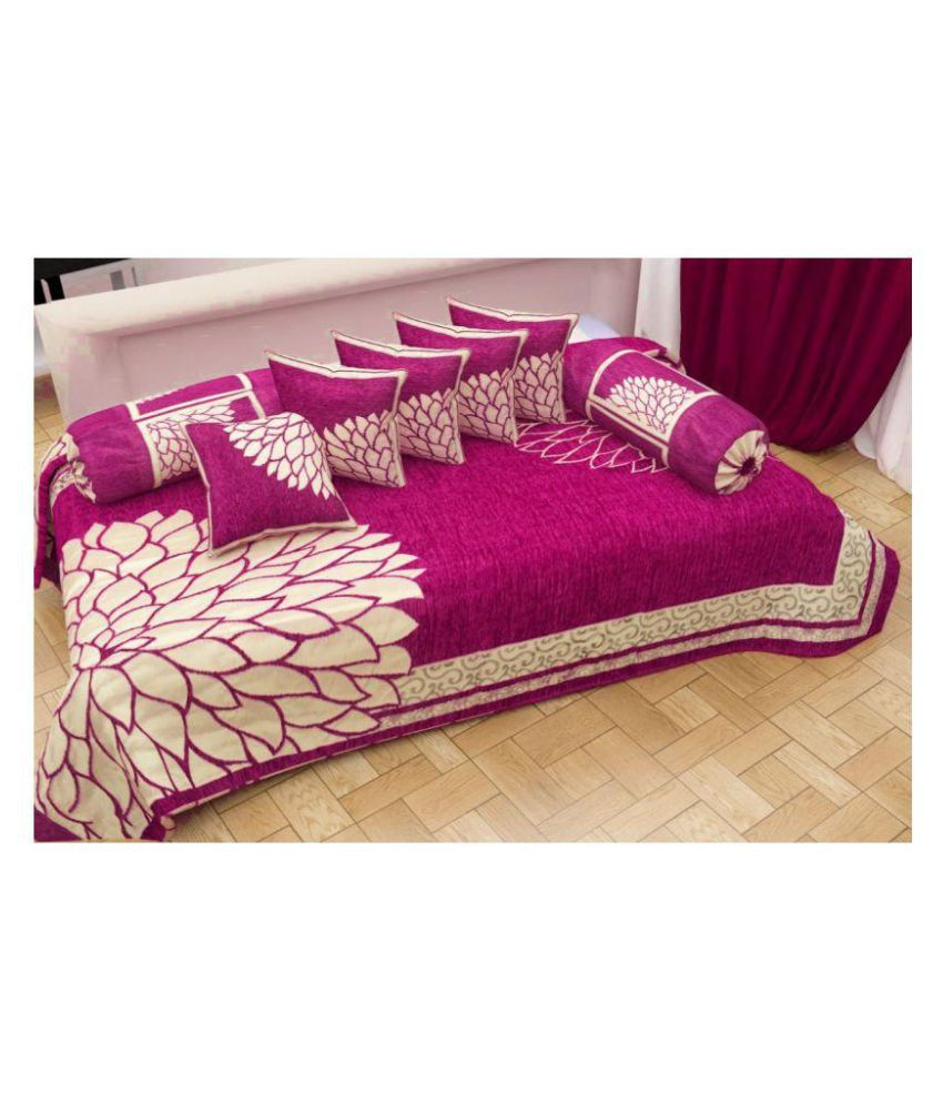 Laying Style Chenille Pink Floral Diwan Set 8 Pcs