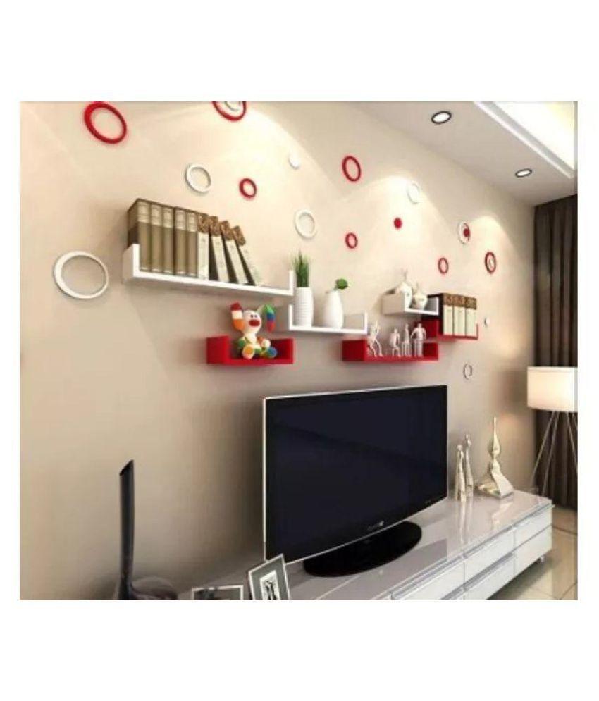 Onlineshoppee MDF Handicraft Wall Decor U-shaped Designer Wall Shelf Pack of 6 - Red & White