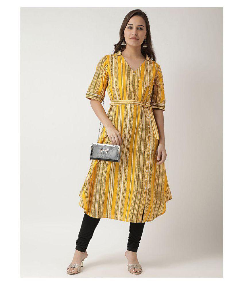 Kira Polyester Yellow Regular Dress
