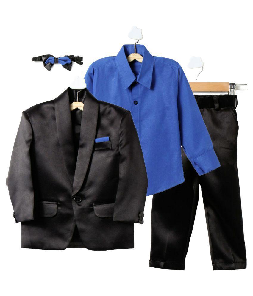 Jeet Black Silk Boys Coat Suit Set