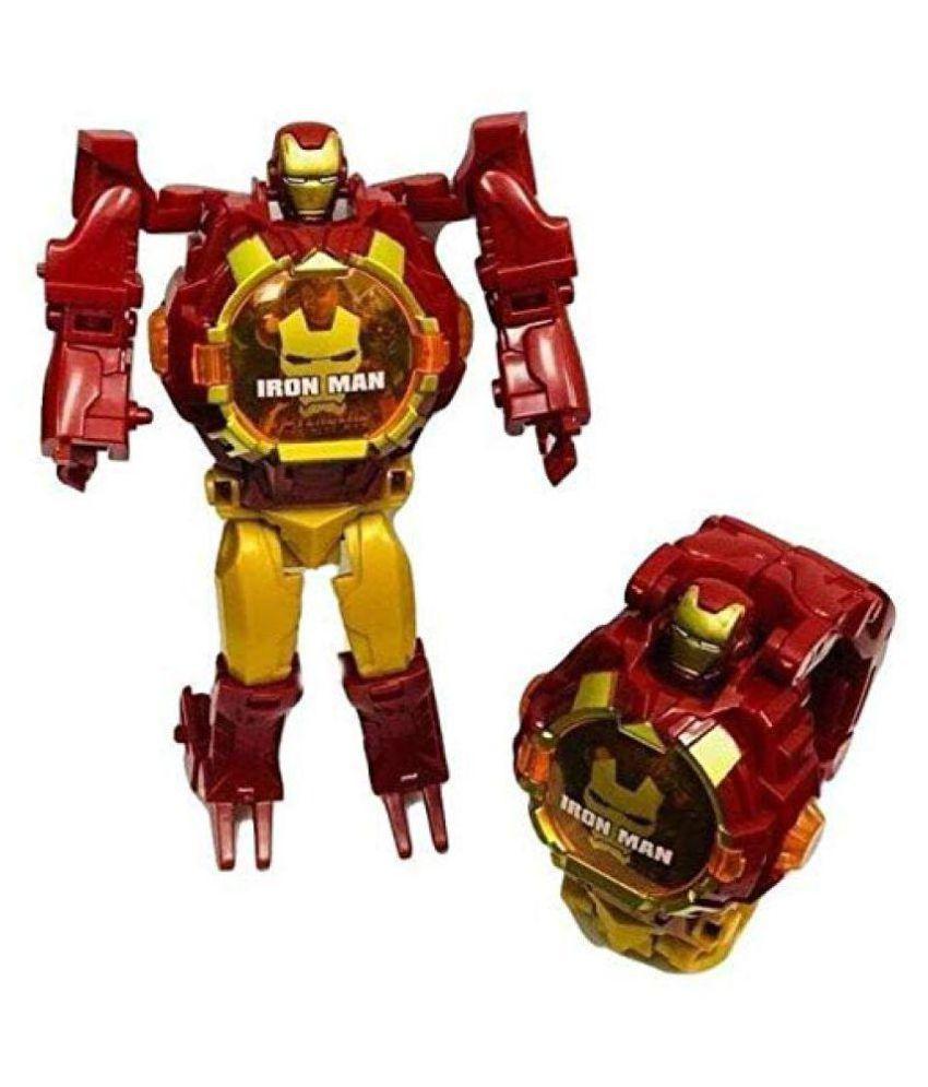 KushJay Iron Man Transformer Robot Toy Convert to Digital Wrist Watch for Kids