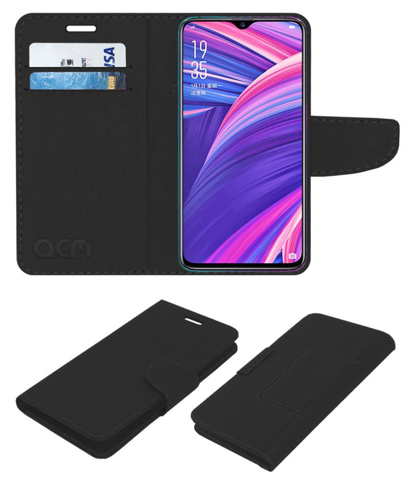 newest ee7ba 8e4b6 Oppo RX17 Pro Flip Cover by ACM - Black Wallet Case,Can store 2 Card/Cash