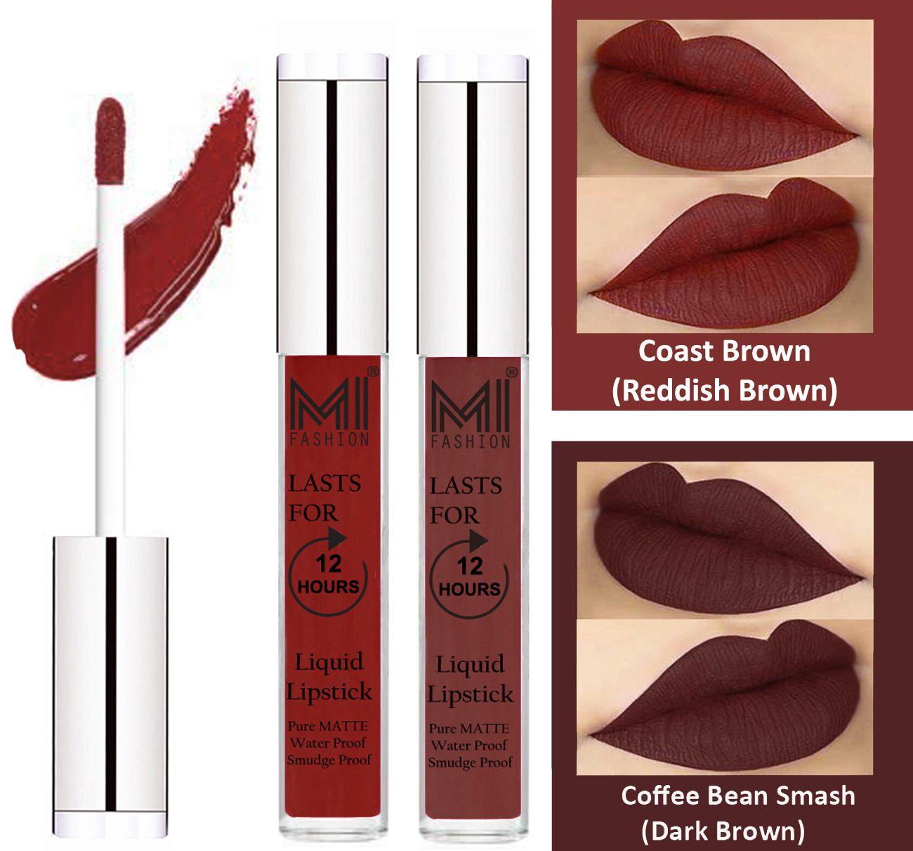 MI FASHION Liquid Lipstick Coast Brown,Dark Brown 3 ml Pack of 2
