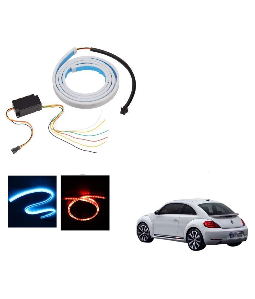 Auto Addict LED Dicky Light Ice Blue & Red DRL Brake with Side Turn Signal & Parking Indication Dicky, Trunk, Boot Strip Light For Volkswagen Beetle
