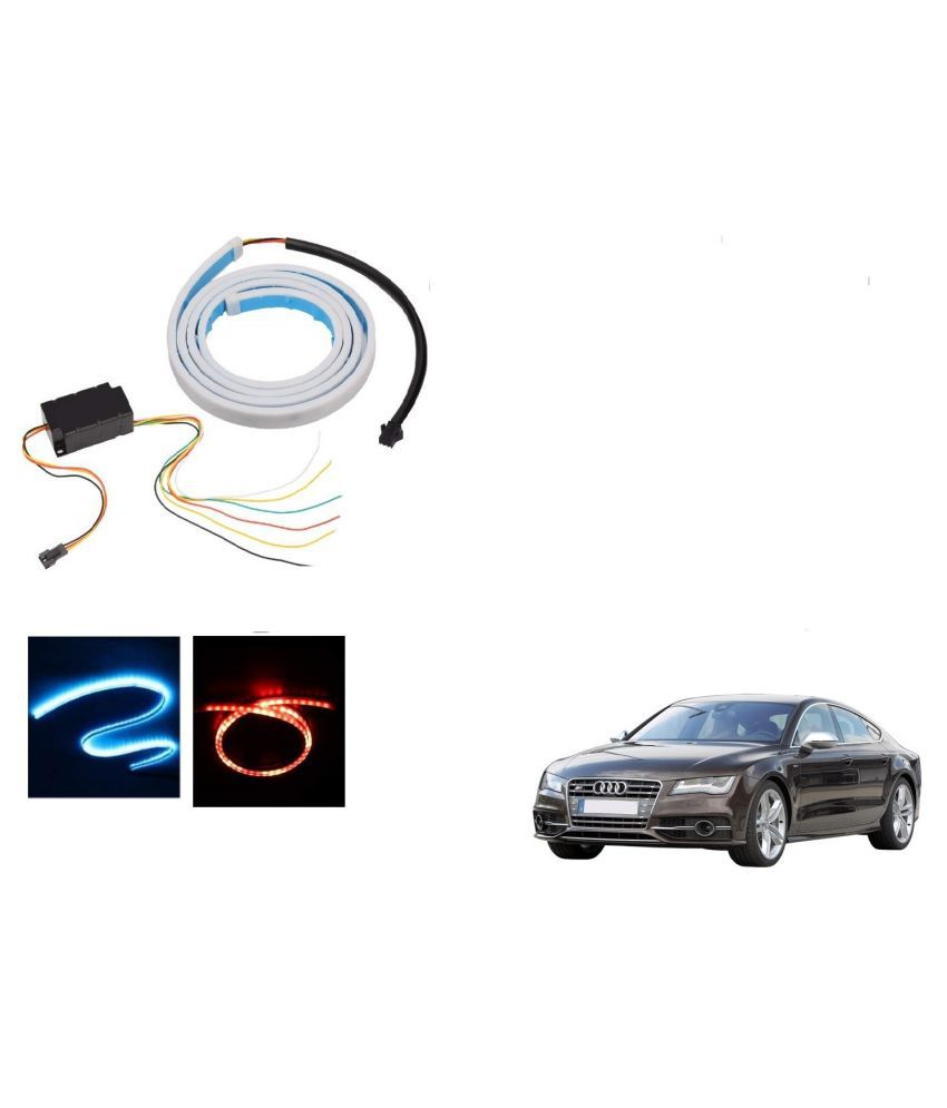 Auto Addict LED Dicky Light Ice Blue & Red DRL Brake with Side Turn Signal & Parking Indication Dicky, Trunk, Boot Strip Light For Audi NA