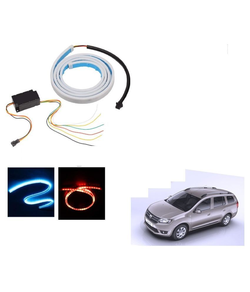Auto Addict LED Dicky Light Ice Blue & Red DRL Brake with Side Turn Signal & Parking Indication Dicky, Trunk, Boot Strip Light For Mahindra Logan