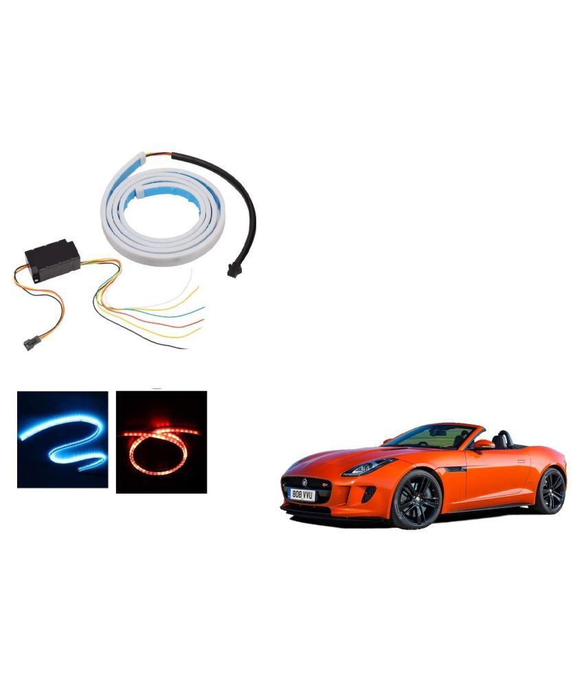 Auto Addict LED Dicky Light Ice Blue & Red DRL Brake with Side Turn Signal & Parking Indication Dicky, Trunk, Boot Strip Light For Jaguar F-TYPE
