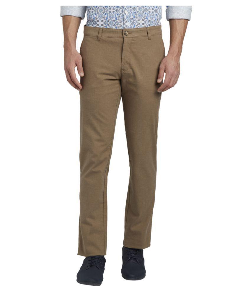 Parx Brown Slim -Fit Flat Trousers