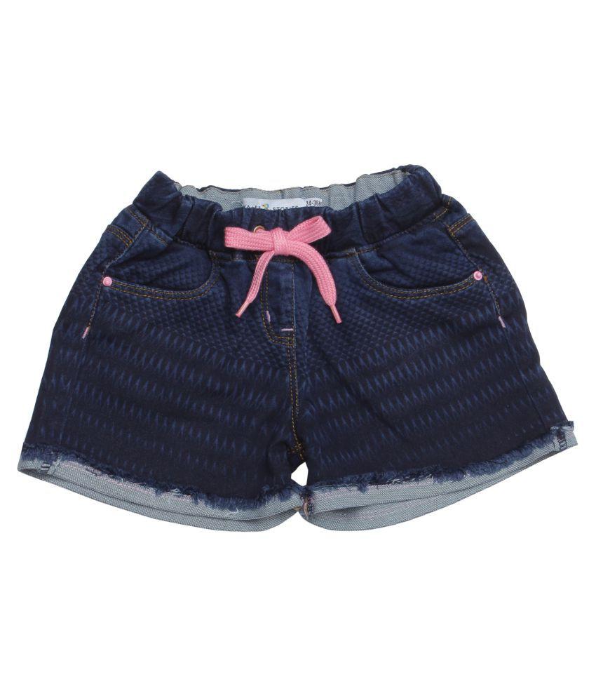 Tales & Stories Girls Dark Blue Regular Fit Embroidered Shorts