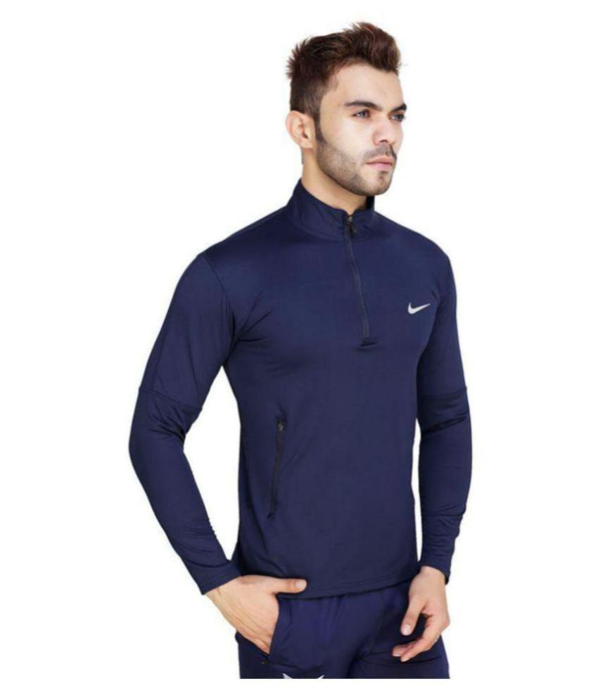 Nike Full Sleeves Navy Blue Lycra Zpper Tshirt with Pocket on Both Sides