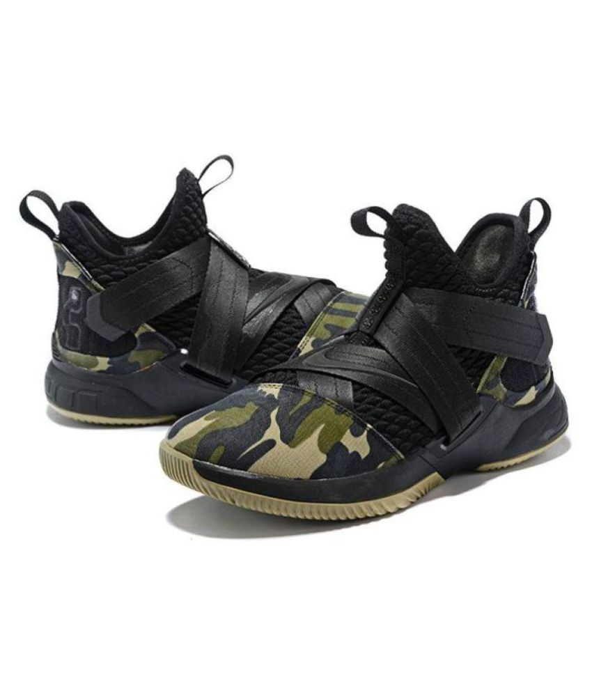 32fbfa952d0fa Nike Lebron Soldier 12 Black Military Midankle Male Black  Buy Online at Best  Price on Snapdeal