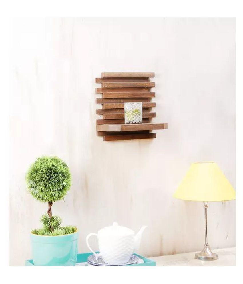 Onlineshoppee Beautiful Wooden Wall Rack ,Color-Netural
