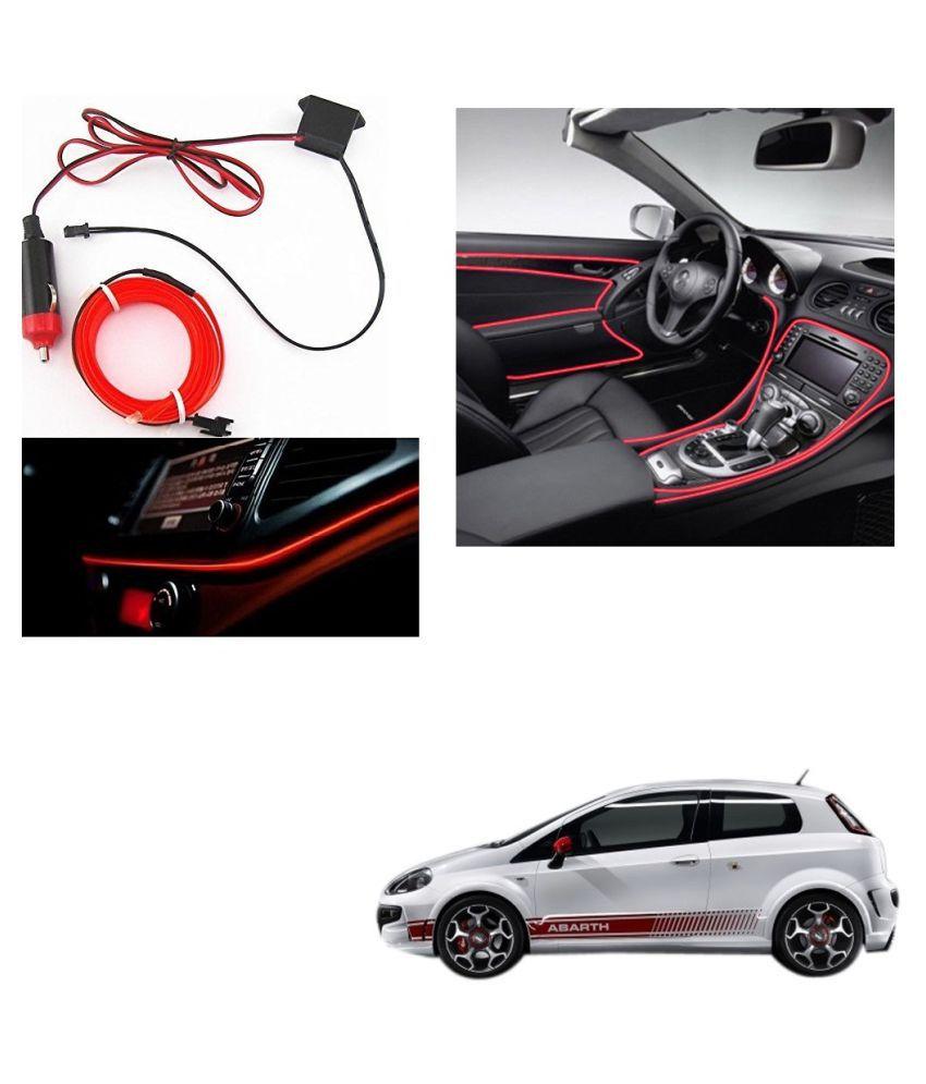 Auto Addict Red Color 12V 5Mtrs Roll Cold Light Car Socket Strip Neon Lamp Creator Decor Dashboard Interior Lighting For Fiat Abarth