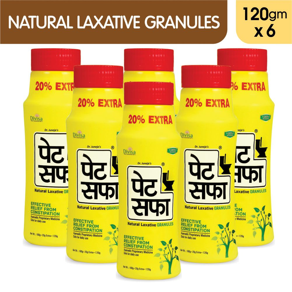 Pet Saffa Natural Laxative Granules 120gm, Pack of 6 (Helpful in Constipation, Gas, Acidity, Kabz), Ayurvedic Medicine