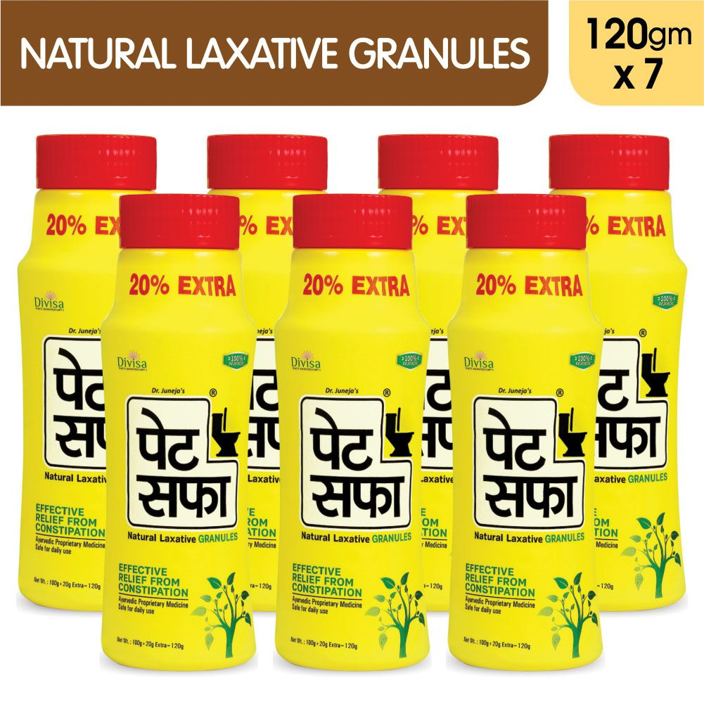 Pet Saffa Natural Laxative Granules 120gm, Pack of 7 (Helpful in Constipation, Gas, Acidity, Kabz), Ayurvedic Medicine