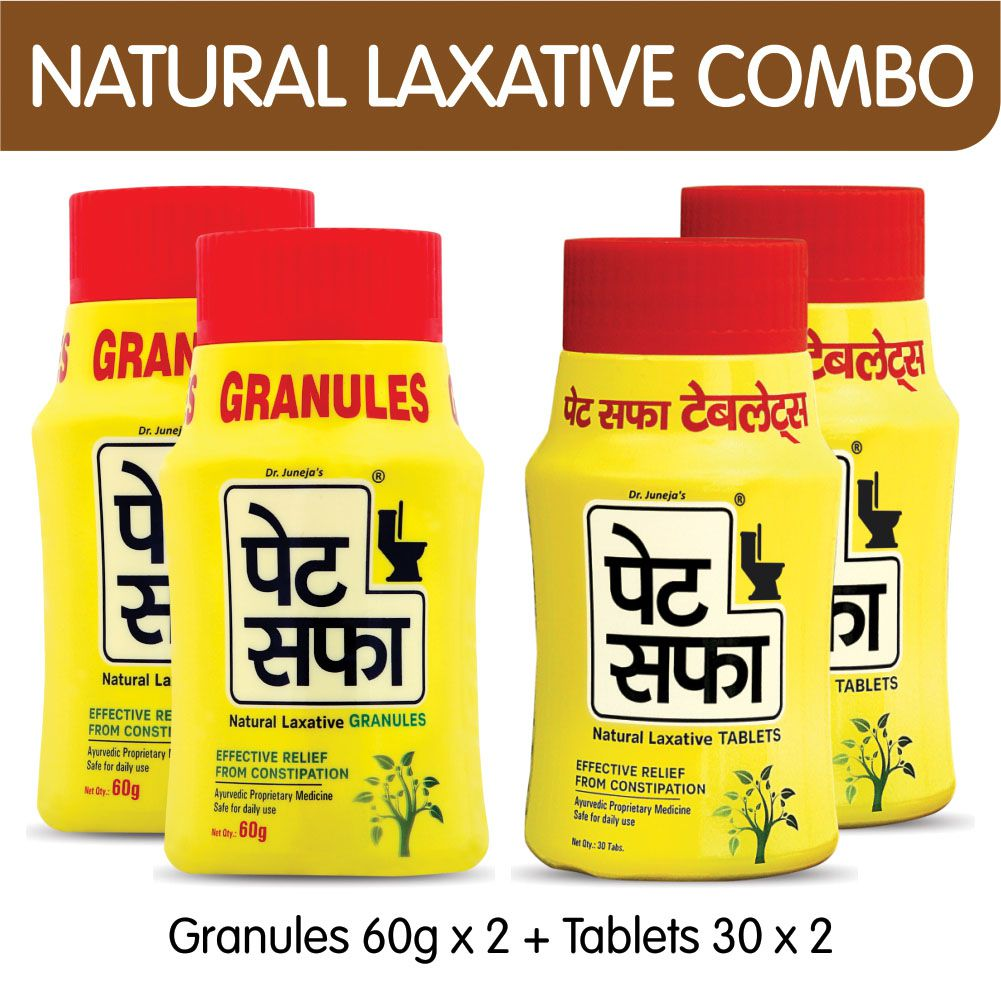 Pet Saffa Natural Laxative Granules 60gm (Pack of 2) + 30 Tablets (Pack of 2) Combo Pack (Helpful in Constipation, Gas, Acidity, Kabz), Ayurvedic Medicine