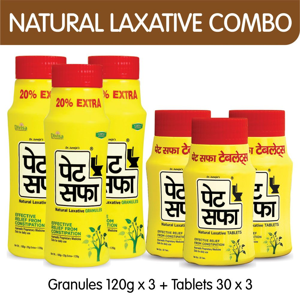 Pet Saffa Natural Laxative Granules 120gm (Pack of 3) + 30 Tablets (Pack of 3) Combo Pack (Helpful in Constipation, Gas, Acidity, Kabz), Ayurvedic Medicine