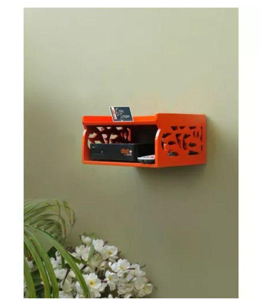 Onlineshoppee Wooden Beautiful Design Set top box Wall Shelf Colour-Orange