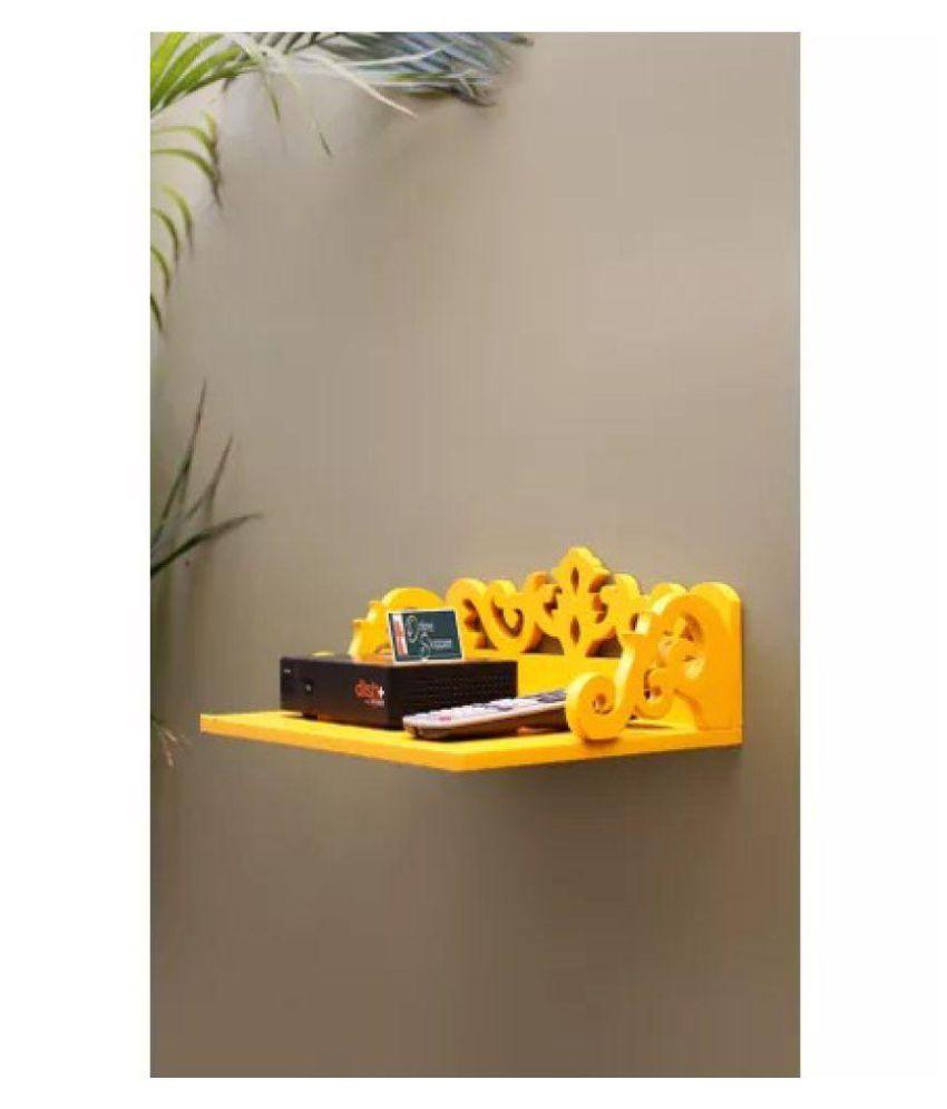 Onlineshoppee MDF Beautiful Design Set top box Wall Shelf Colour- Yellow
