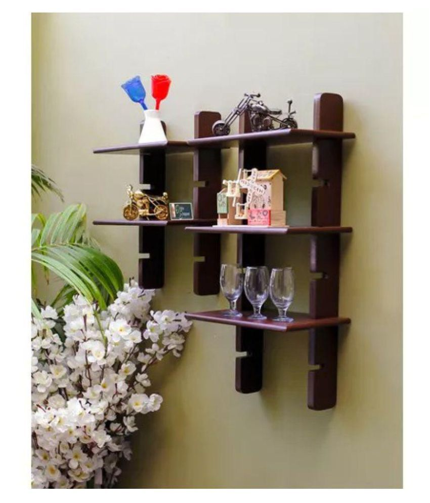 Onlineshoppee Escalera Wall Shelf 2 Pcs Brown