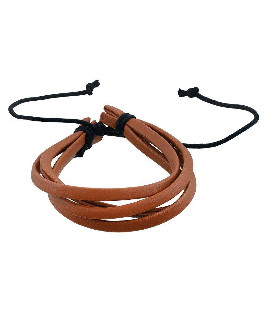 Memoir Leather Brown, Four Strand Free Size Bracelet Men Women Boys