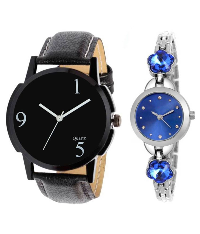 Newmen Pack Of Two Metal And Leather Strap Couple Combo For Boys And Girls Watch - For Men & Women
