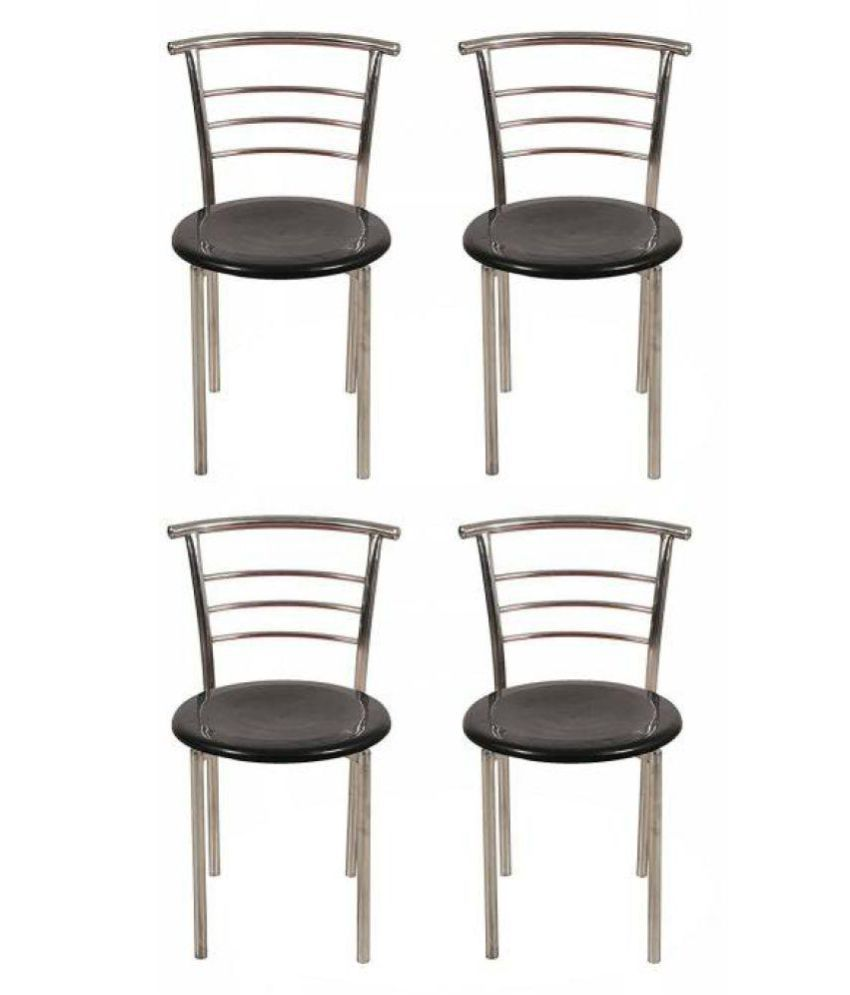 243 & AONE classy Metal Dining Chair (Set of 4 Finish Color - black)