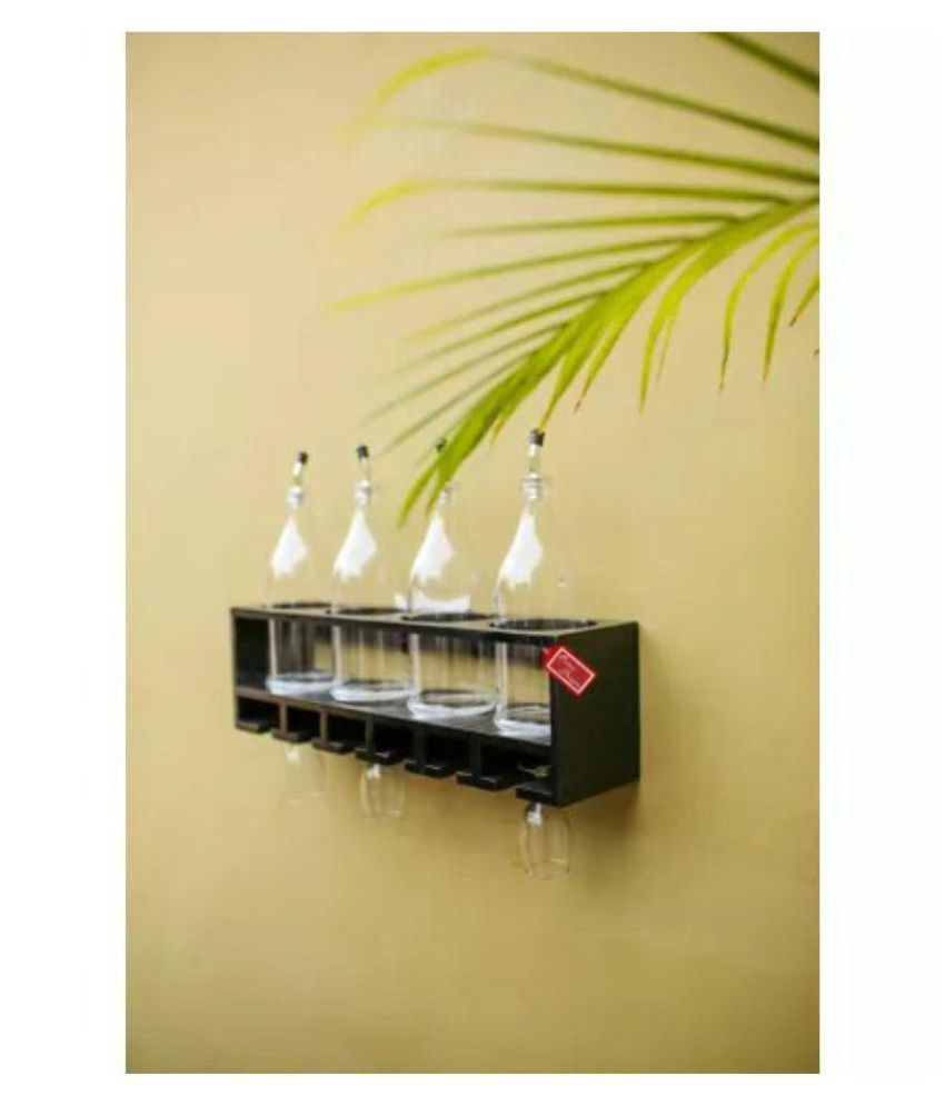 Onlineshoppee Unique Wooden Bottle Rack (Black , 4 Bottles Holder)