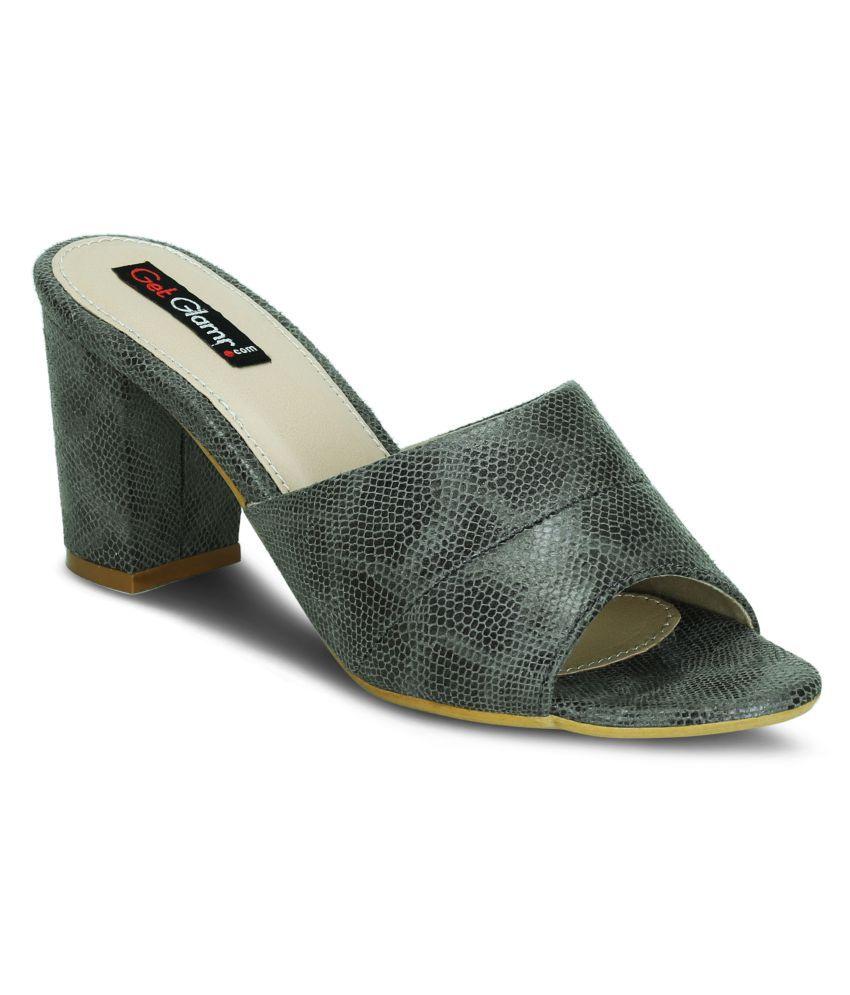 Get Glamr Gray Block Heels