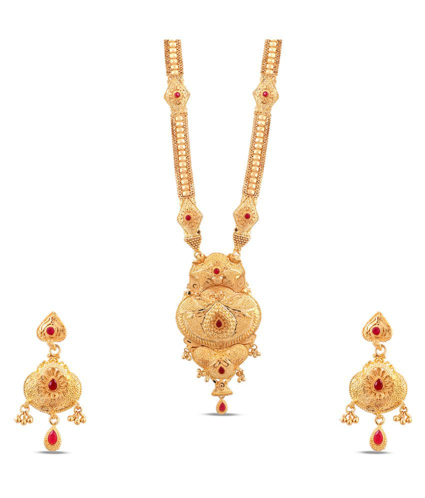 Kalyani Covering Brass Golden Collar 22kt Gold Plated Necklaces Set
