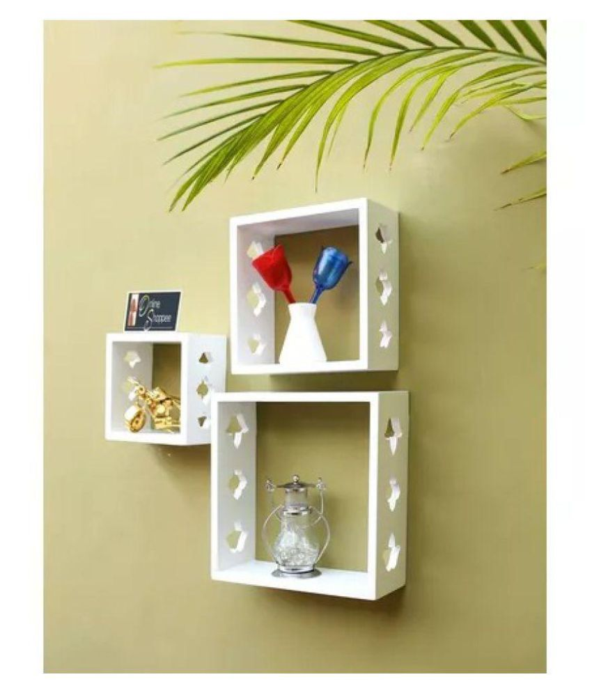 Onlineshoppee Square Nesting MDF Wall Shelf - White