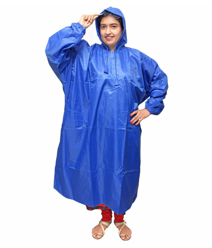 Goodluck Nylon Long Raincoat - Blue