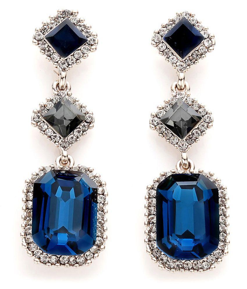 Elegant Blue Crystal Gemstone Stud Earrings Fashion Jewellery