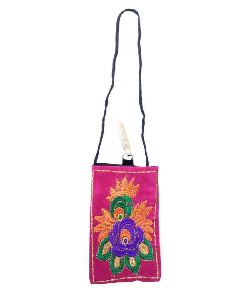 Shinde patil exports Pink Woven Sling Bag